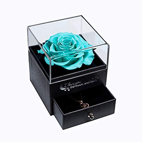 Yamonic Real Preserved Rose with Love You 100 Languages Necklace Gift for Her Box, Eternal Real Rose for Valentine's Day Mother's Day Wedding Anniversary Birthday Gift for Women Gril, Tiffany Blue