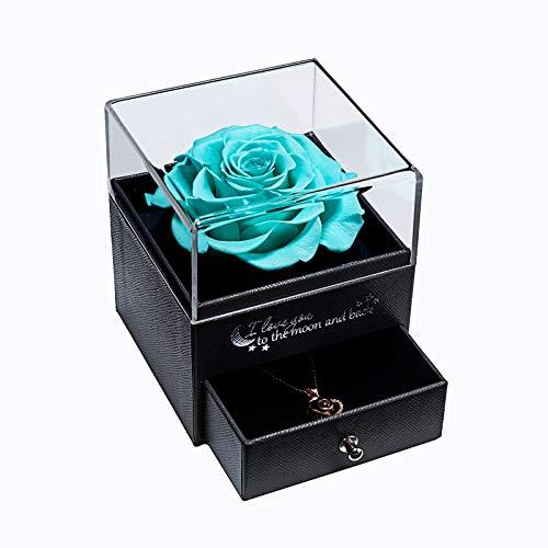 Echte Rose mit Liebe Sie Halskette Schmuck Geschenk für sie, Ewige Liebe Rose zum Valentinstag Muttertag Jubiläum Geburtstags geschenk geschenk für frauen, Freundin, Frau, Mutter - Tiffany-Blau