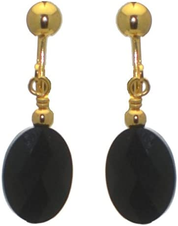 L'OVALE Gold Plated Jet Crystal Clip On Earrings