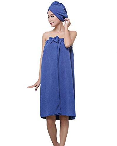 ZiXing Ducha de microfibra cabello seco toalla de baño de rápida Cap Natación Pareo Chal albornoz ajustable Spa Cover Up Royal Blue OneSize