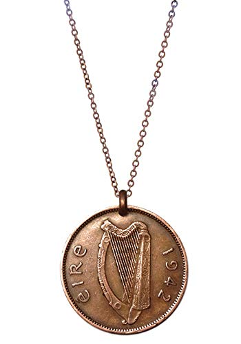 Worn History Authentic Irish Pig with Piglets/Celtic Harp Halfpence Coin Necklace (1939-1967) (20')