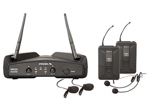 PROEL WM202DH - Coppia Radiomicrofoni Wireless UHF DUAL ad archetto + Custodia, Nero