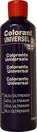 Bleu Outremer Colorant Universel Concentré 250 ml pour toutes peintures décoratives et bâtiment. Grande compatibilité aussi bien en milieux solvant et aqueux. Convient également à la coloration des enduits , plâtres , et résines. Grande facililté de dosage grâce à son bouchon compte goutte