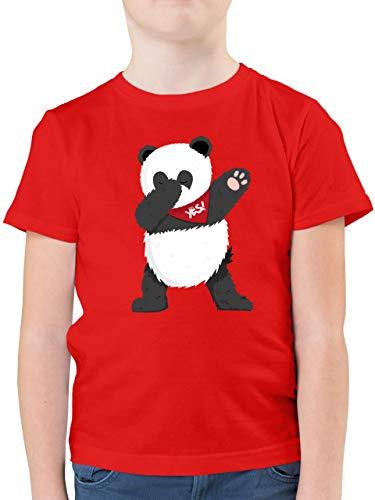 Tiermotive Kind - Dab Panda - 116 (5/6 Jahre) - Rot - Panda Shirt Kinder - F130K - Kinder Tshirts und T-Shirt für Jungen