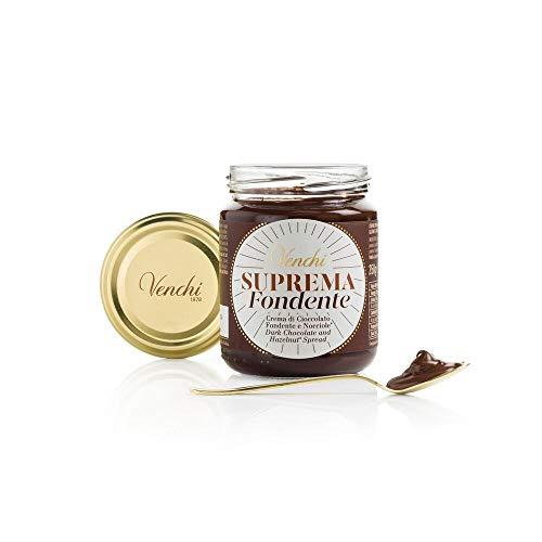 Venchi Crema Spalmabile al Cioccolato Suprema Fondente - con Nocciole Piemonte IGP - Senza Glutine, Grassi Idrogenati, Olio di Palma o Conservanti - 250 g