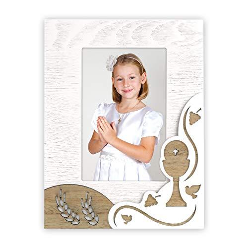 Bilderrahmen für die erste Kommunion, aus Holz mit Verzierungen aus Holz, für den Tisch, geeignet für 1 Foto à 10 x 15 cm, Hochformat