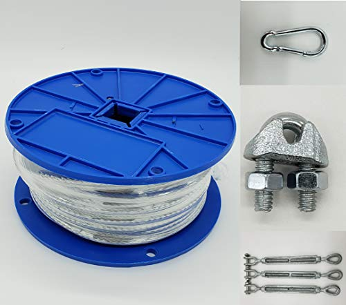 Pinnon Hatch Farms/ Jones Sports Medium Duty 55' Indoor/Outdoor Cable Kit for Baseball Softball Batting Cage Net with 3/8' turnbuckles, 1/8 Cable Clamps, and zinc