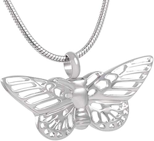 QQJJSUDIW Collar De Cremación De Acero Inoxidableurna Collar Colgante Urna Caja Forma De Mariposa