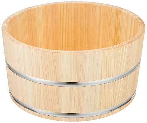 ダイワ産業 桶 風呂桶 湯桶 木製 ひのき 防カビ 撥水加工 日本製 ステンレスタガ 直径22.5×高さ11.5cm 470g