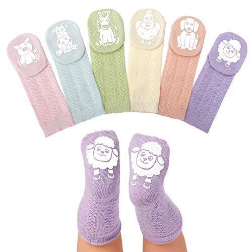 Anole Calcetines para Recién Nacido y Bebé - 6 Pares - Medias Tejidas Alto de Rodilla para Niñas (Pastel, 0-3 Meses)