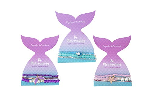 Cupcakes and Cartwheels Pack of 3 Totally Mer-Mazing Elasticated Stretch Bracelets | Each Mermaid comes with 5 Bracelets | Party Bags Costume Jewellery | Colourful Friendship Girls Bracelet | CC00058