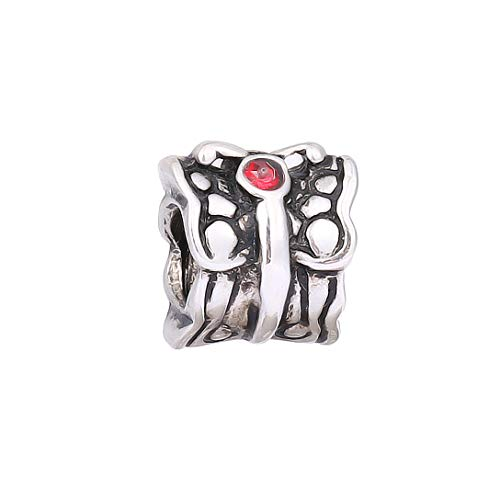 AKKi jewelry Charms Beads Ciondolo in acciaio inox per bracciale a forma di fiore, ciondolo in argento originale con cristalli Swarovski compatibile con lo stile Pandora