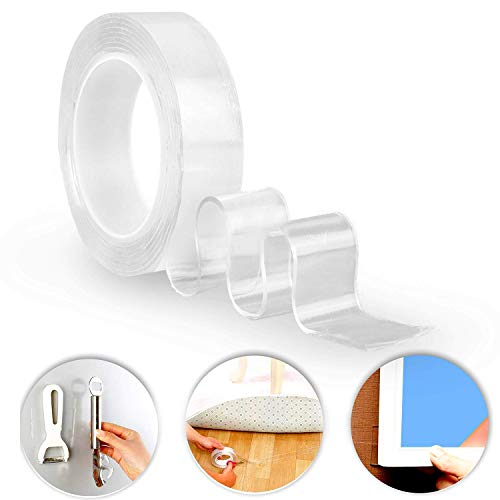 iBayx Traceless Washable Adhesive Nano Tape, Removable Reusable Adhesive Gel Grip Tape Duty Double Sided Tape Clear Silicone Tape for Paste Photos Fix Carpet Mats Pen Key,16.40FT/5M