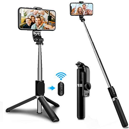 SYOSIN Selfie Stick Stativ, 3 in 1 Erweiterbar 1.03m Selfie Stange mit Bluetooth Fernbedienung für iPhone 11/11 Pro/11 Pro Max/XS/XS Max/XR/X/8, Galaxy S10/9/8/7, Huawei