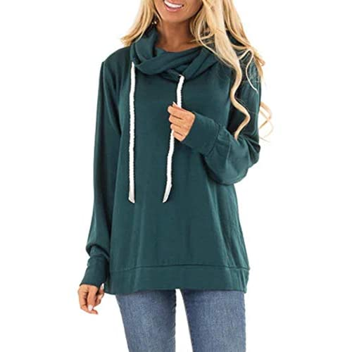 SIDEFEEL Women's Plain Drawstring Hoodies Cowl Neck Hooded Long Sleeve Sweatshirt Tops UK Size 6-22