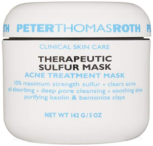 Peter Thomas Roth Therapeutic Sulfur Acne Treatment Mask, Maximum-Strength Sulfur Mask for Acne, Clears Up and Helps Prevent Acne Blemishes, Oil Absorbing and Pore Cleansing