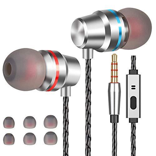 Losvick Ecouteurs Intra-Auriculaires, Ecouteur Filaire avec Microphone Casque Anti-Bruit Haute Qualité avec Jack 3,5mm pour iPhone 6s, iPad, MP3, Samsung et Android Smartphones - Argent