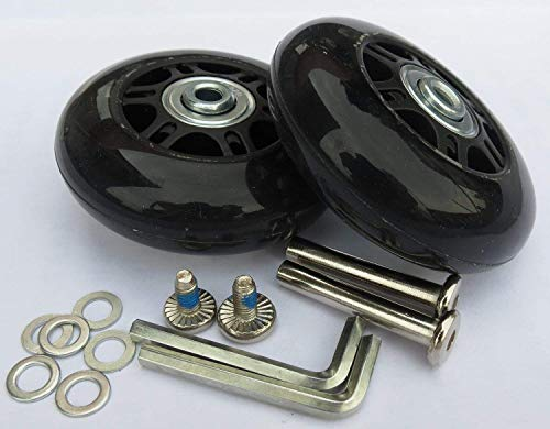 E&L 2 Set of Luggage Suitcase Replacement Wheels with ABEC 608zz Bearings, Replacement Luggage Wheels, Packaged with Our own Designed Bag @ Eric & Leon Logo (70 X 19(mm))