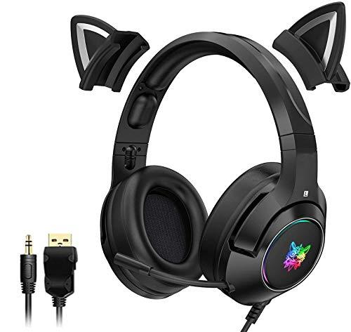 Auriculares inalámbricos con Bluetooth para niños, Auriculares con Orejas de Gato con micrófono, 7 Colores, luz LED, Parpadeante, Auriculares para Juegos Plegables, Auriculares