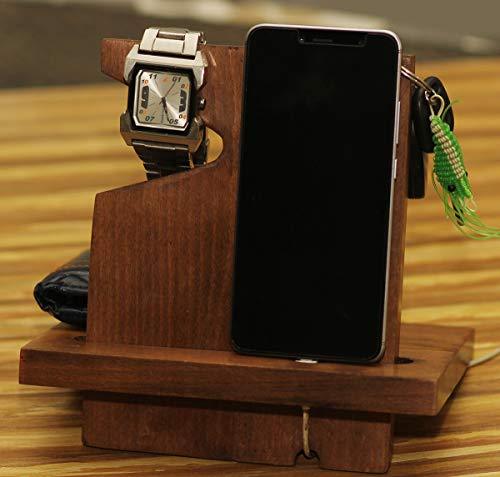 Compact Docking Station - Crafkart Wooden Left Handed Phone Docking Station with Key Holder, Pen Holder, Wallet and Watch Organizer - Perfect Men's Gift