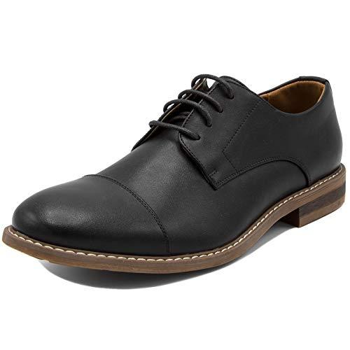 Men's Classic Cap Toe Oxford Dress Shoes-Harbor 2-Black Smooth-8