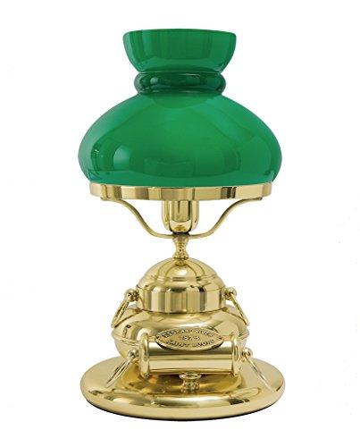 Lampe de table en laiton et or véritable 24 K avec abat-jour en verre vert de qualité supérieure - Fabriquée à la main - Pour chambre à coucher