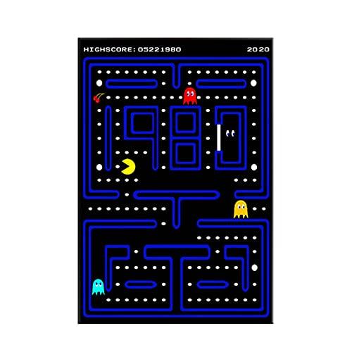 JIANGCJ Cuadro sobre Lienzo Arte de la Pared Clásico Memoria Infantil Pacman Juego de Arcade Carteles e Impresiones Pintura Decoración para Sala de Estar 70x100cm Sin Marco