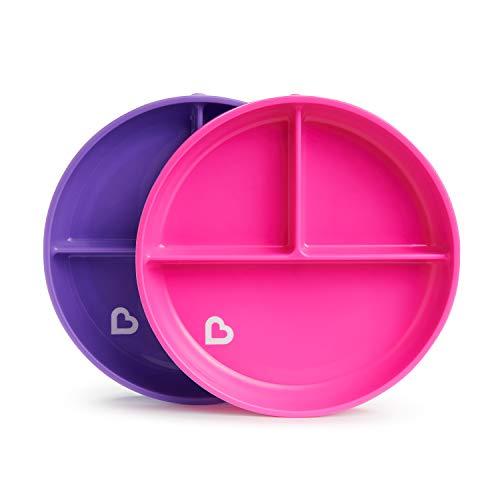 Munchkin - Platos de ventosa divididos Stay Put, rosa/morado