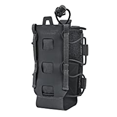 Lightweight bottle holder (only 3.7 oz), adjustable for size. Can fit small to large 64oz bottles Made from ultra-tough 1000-D Cordura and grippy Hypalon rubber composite Includes built-in MOLLE straps for quick attachment or belt carry.
