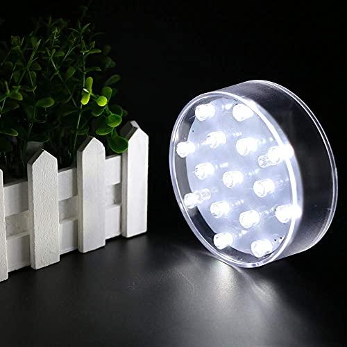 TOPPER SHOW USB Chargeable LED Vase Base Light - 4 inch Acrylic Round Super Bright 15 LED Beads LED Base Light Battery Powered Pedestal Base Plate Light for Wedding/Party Decoration