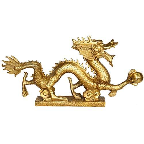 LXYZ Estatua de dragón de Bronce de Feng Shui Chino Doce Decoraciones auspiciosas del Zodiaco Oficina en casa Adorno de la Suerte Escultura de Riqueza y Buena Suerte, L