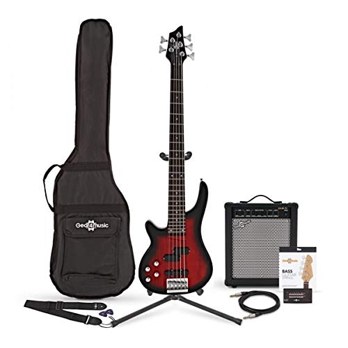 Chicago 5 String Left Handed Trans Red Bass + 35W Amp by Gear4music