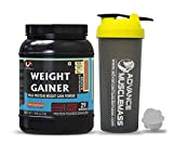 Advance MuscleMass Weight Gainer with Enzyme Blend | 5.1 G Protein | 25.3 G Carbs | Lab tested | Made from Whey Protein only | Raw Whey from USA | With Shaker | Chocolate Flavour | 1 Kg / 2.2 lb
