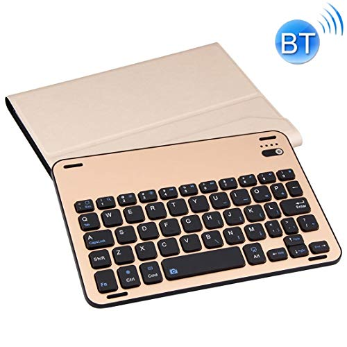 XUAILI Tablet Keyboard Case Lambskin Texture Detachable Aluminum Alloy Bluetooth Keyboard Leather Cover with Stand Function, for IPad Mini 3/2 / 1 (Color : Gold)