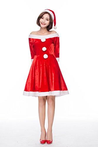 S&C Live クリスマスコスプレ レディース クリスマスワンピースドレス2点セット サンタワンピース オフショルダーワンピース2点セット 膝丈 大人上品 ファーポンポン 美しいデコルテライン ボリューム満点広裾のスカート&ファー 二の腕カバーできる5分
