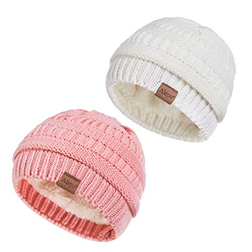 Alepo Fleece Lined Baby Beanie Hat, Infant Newborn Toddler Kids Winter Warm Knit Cap for Boys Girls (Pink&White)