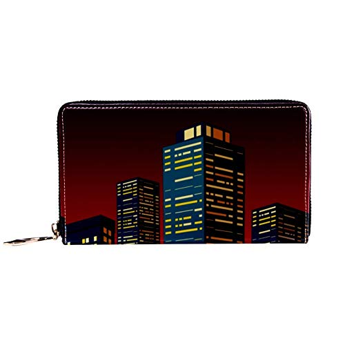 XCNGG Cartera con Cremallera para Mujer y Embrague para teléfono, Bolso de Viaje, Bolso de Mano de Cuero, Tarjetero, Organizador, muñequeras, Carteras, Rascacielos de Paisaje Urbano