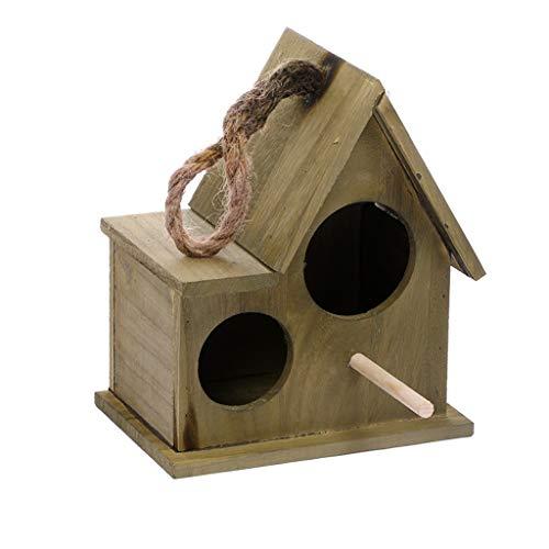 Double Trou nid d 'Oiseau Perroquet Boîte de Reproduction Chaude Incubateur en Bois Massif Suspendu Cage à Oiseaux Pet Petite Maison (Color : Green, Taille : Large)