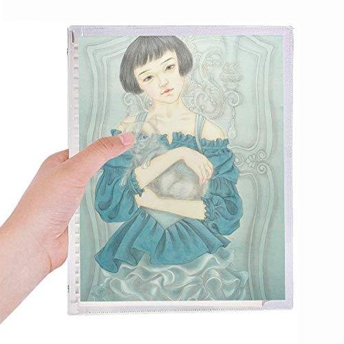 Blå klänning skönhet kinesisk målning anteckningsbok lös löv spiral refillable journal