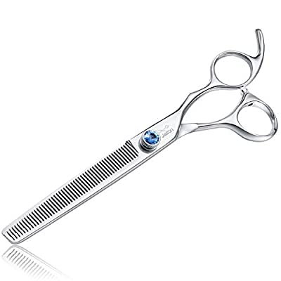 """JASON 7"""" 50 Teeth Thinning Dog Grooming Blending Scissor, Ergonomic Pet Grooming Thinner Blender Shears Cat Trimming Texturizing Kit with Offset Handle and a Jewelled Screw, 30% Thinning Rate by JASON"""