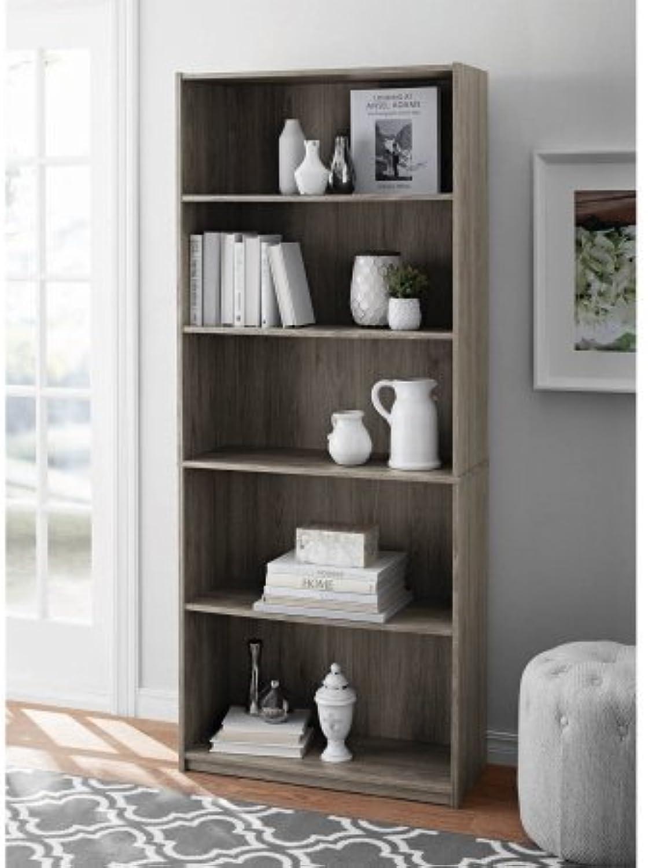 Mainstays 5-Shelf Wood Bookcase - OAK