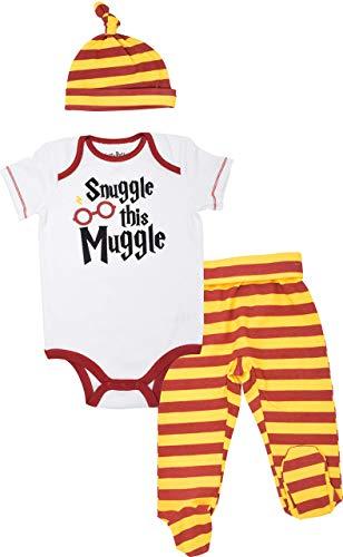 Harry Potter Baby Boys Layette Set Bodysuit Pants Footies Hat 0-3 Months White