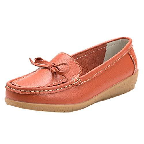 Deloito Damen Freizeit Arbeitsschuhe Espadrilles Runder Zeh Halbschuhe Einfarbig Kinder Keile Schuhe Mokassins einzelne Erbsen Bootsschuhe (Orange,37 EU)