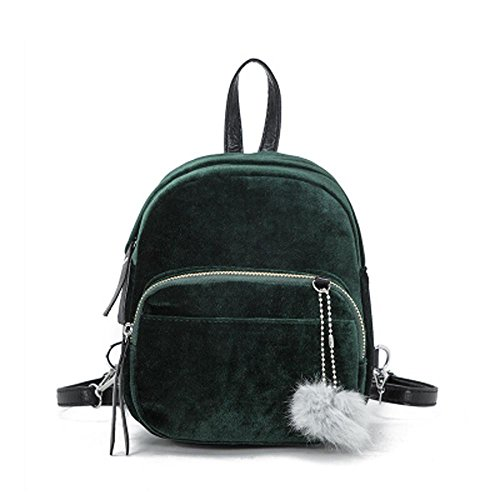 TUDUZ Leichter Rucksack Mini Fur Ball Rucksack Mode Schultertasche Solide Damen Mädchen Reise Schultaschen Daypacks (Grün)