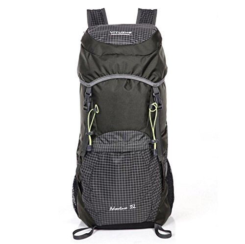 35L Nylon imperméable unisexe extérieur Camping Randonnée Escalade Alpinisme Sac à dos pliable Voyage sport , black