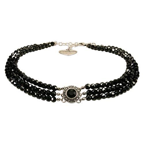 Alpenflüstern Trachten-Perlen-Kropfkette Karla - nostalgische Trachtenkette, eleganter Damen-Trachtenschmuck, Dirndlkette schwarz DHK218