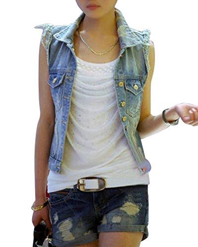 Chaqueta De Mezclilla Mujeres Abrigo Sin Manga Chaleco Corto Jeans Denim Jacket