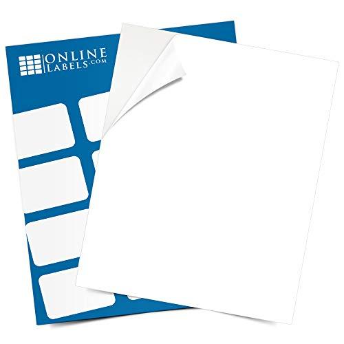 laser printer papers Sticker Paper, 100 Sheets, White Matte, 8.5 x 11 Full Sheet Label, Inkjet or Laser Printer, Online Labels
