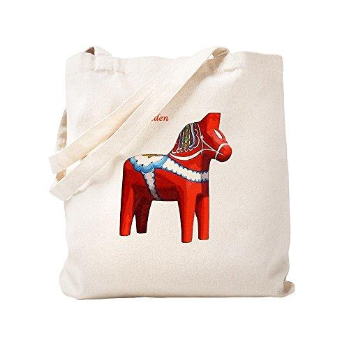 CafePress–Dala Pferd Tasche mit Flagge auf der Rückseite–Leinwand Natur Tasche, Reinigungstuch Einkaufstasche Tote S khaki
