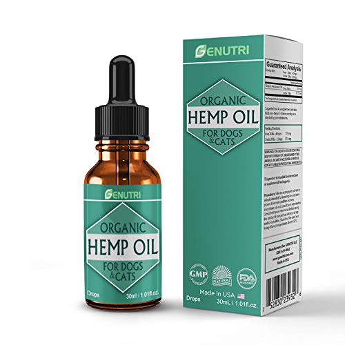 GENUTRI Organic Hemp Oil for Dogs and Cats – Nutritional Oil, Calming Medication, Joint Mobility Support, Joint Pain Relief, Skin & Fur Support for Pets – Zero THC, Safety Guaranteed
